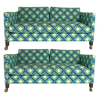 Tuxedo or Parsons Settees / Sofas in Textured Lattice Bamboo Upholstery - a Pair For Sale