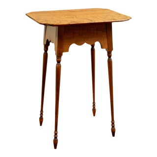 River Bend Ltd's Curly Maple Cookie Side Table For Sale
