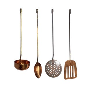 Vintage Hanging Copper and Brass Kitchen Utencils - Set of 4 For Sale