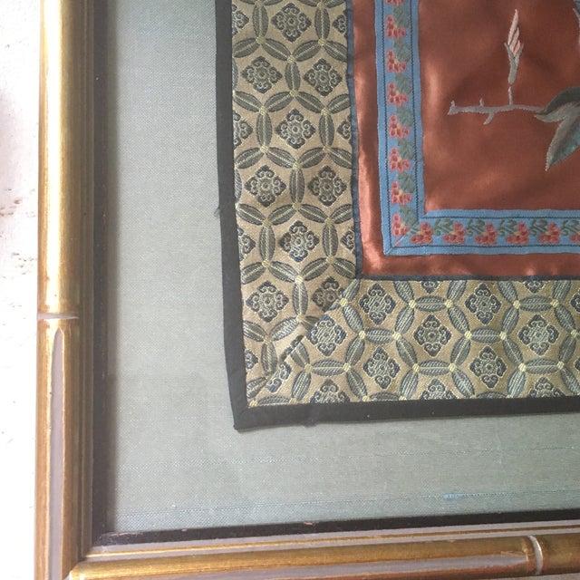 Asian Vintage Oriental Framed Embroidered Silk Textile Art For Sale - Image 3 of 5
