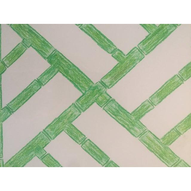 Palm Beach Regency Faux Bamboo Framed Trellis Art For Sale - Image 5 of 10
