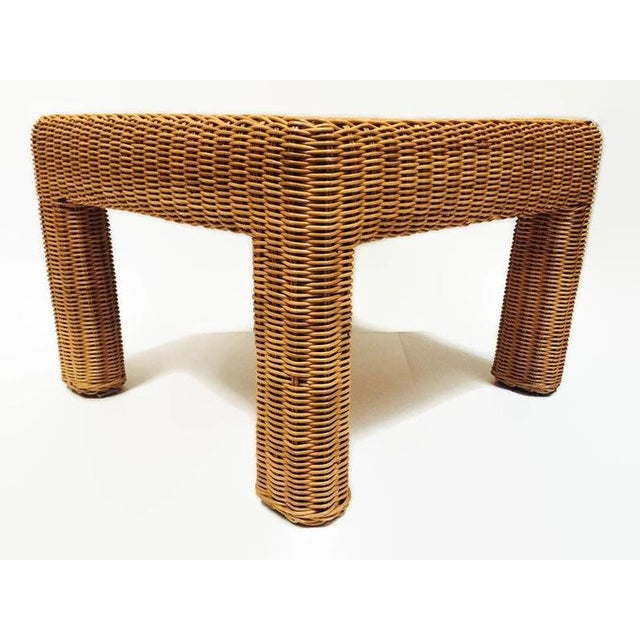 Brown Vintage Wicker Footstool Rattan Ottoman For Sale - Image 8 of 12