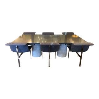 Saporiti Italia Giovanni Offredi Paracarro Double Pedestal Dining Set For Sale