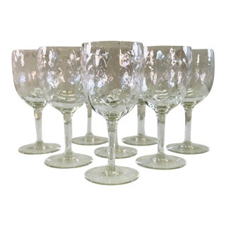 Vintage Swag Style Tall Glass Wine Stems, Set of 8 For Sale