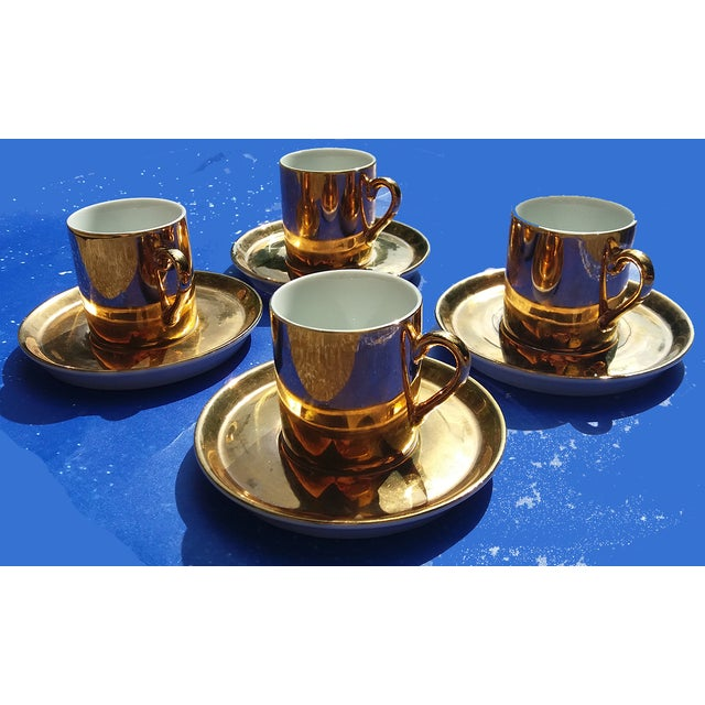 Gold Coffee Cups With Saucers - Set of 4 - Image 3 of 5
