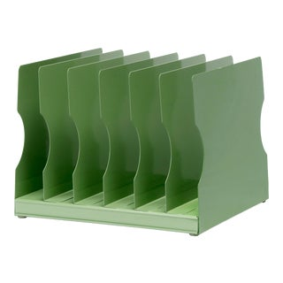 1940s Desktop Memo/ File Holder, Refinished in Sage Green For Sale