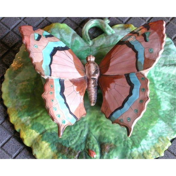 Traditional Butterfly Porcelain Wall Pocket For Sale - Image 3 of 6