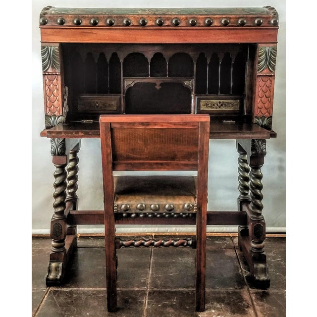 Spanish Colonial Revival drop-front secretary high desk on stand, also known as a vargueno or bargueno. This painted...