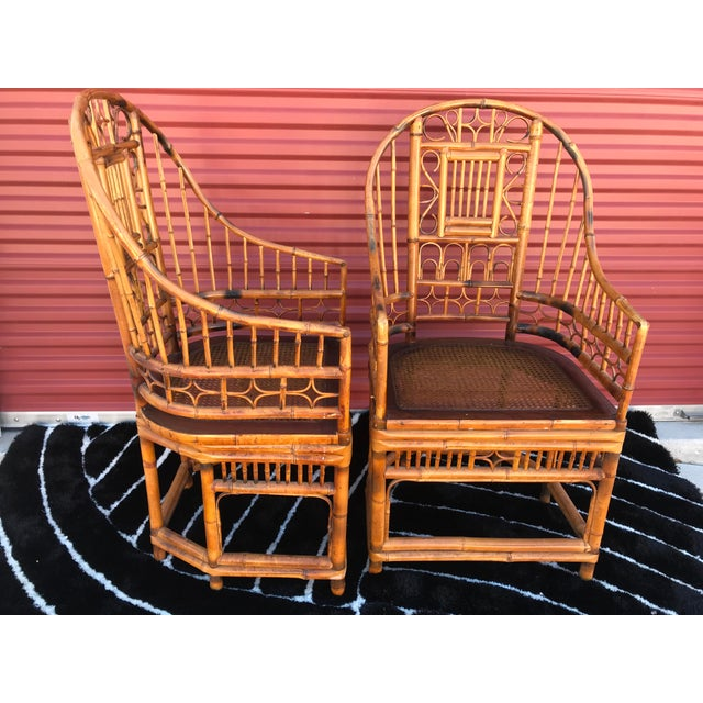 Brighton Pavilion Vintage Mid Century Brighton Pavillion Chinese Chippendale Boho Arm Chairs- A Pair For Sale - Image 4 of 5