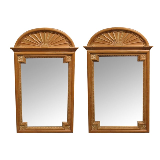 1900s Vintage La Barge Carved Pine Georgian Style Mirrors- a Pair For Sale