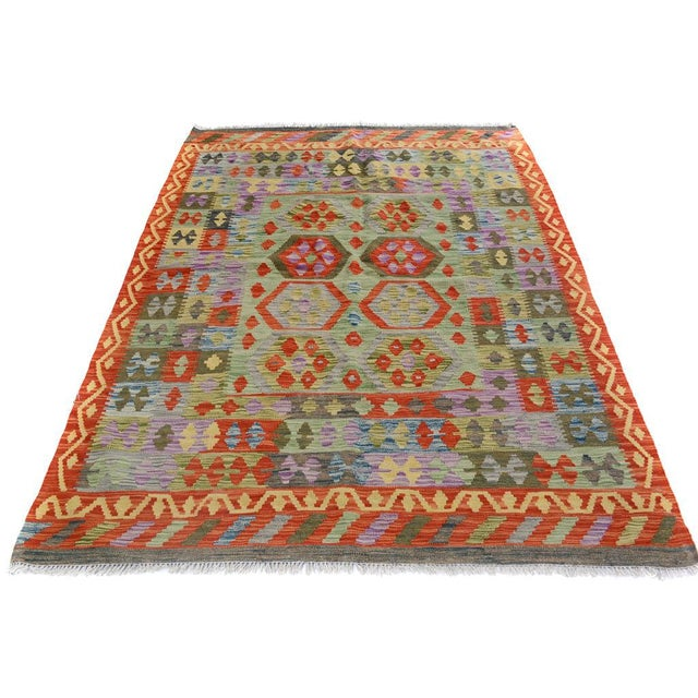 Arya Curt Green/Gold Wool Kilim Rug - 4'11 X 6'7 For Sale - Image 4 of 7