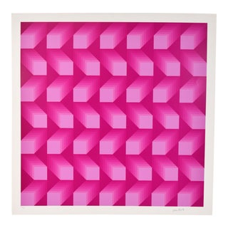 "1970s Vintage Jim Bird ""Tribute to Vasarely"" L/E Pink Squares Op Art Lithograph For Sale"