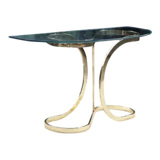 Mid Century Milo Baughman DIA Brass Ribbon Curved Console Table For Sale