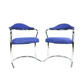 1970s Mid-Century Modern Anton Lorenz for Thonet Blue Upholstered Chrome Side Chairs - a Pair
