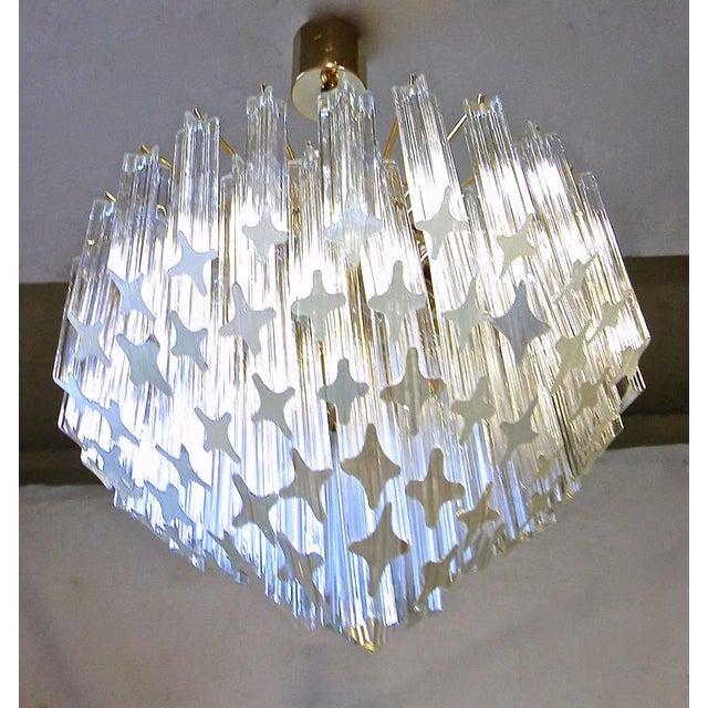 Venini 1970s Italian Quatro Punta Crystal Prism Chandelier For Sale - Image 4 of 10