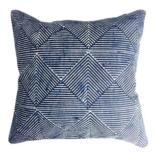 Contemporary Rekha Navy Blue Cotton Pillow For Sale