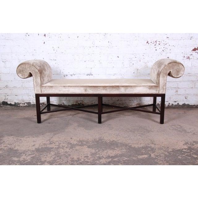 Baker Furniture Mahogany and Velvet Window Bench For Sale - Image 12 of 12
