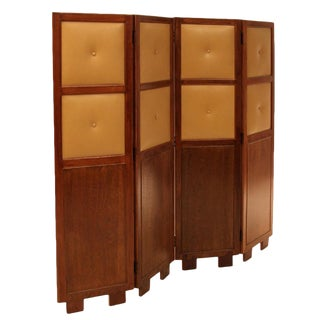 Circa 1960 Brazilian Leather Paneled Folding Screen For Sale