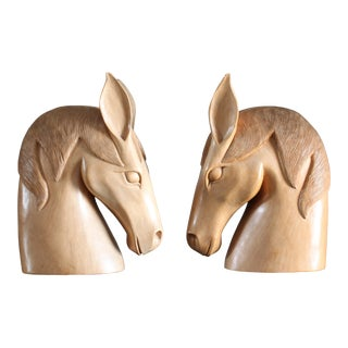 Vintage Oversize Carved Wood Horse Head Bookend Accents - a Pair For Sale