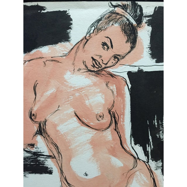 1950s 1950s Model Flo Allen Painting Bay Area Figurative For Sale - Image 5 of 6