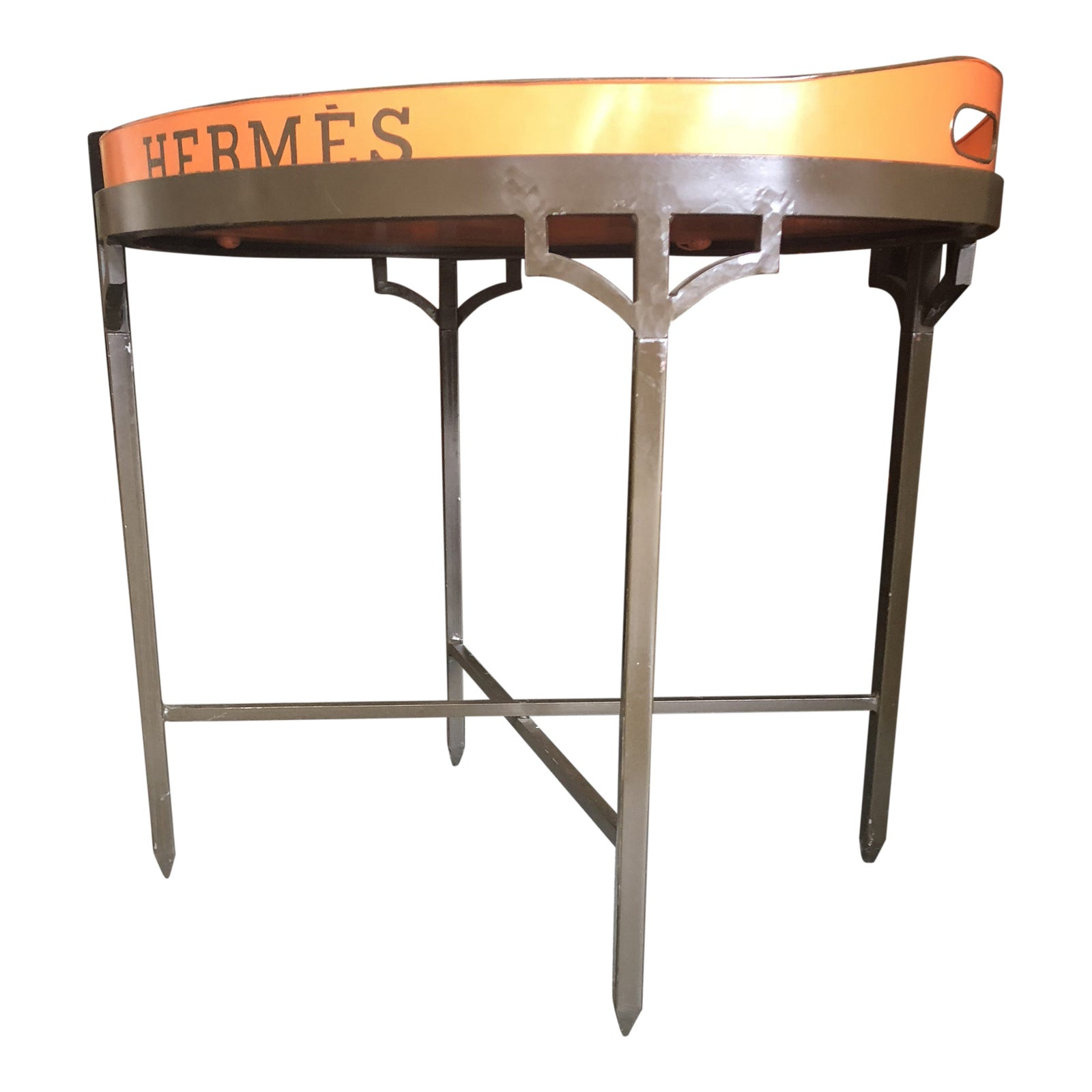 Traditional wrought iron table stand with hermes tray chairish