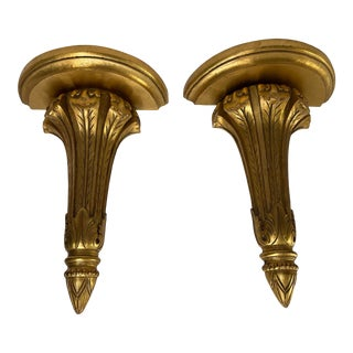 Carved French Style Wall Brackets a Pair For Sale