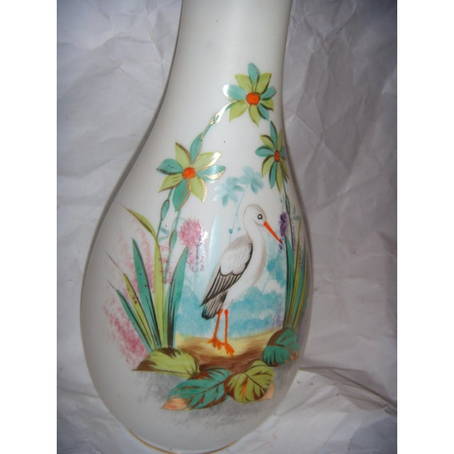 Bristol Glass Vase with Bird & Flowers - Image 3 of 5