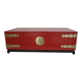 Hollywood Regency Red Lacquered and Brass Coffee Table