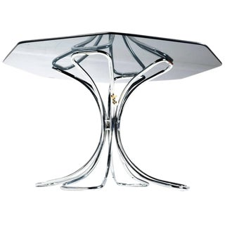 Chrome and Smoked Glass Dining Table