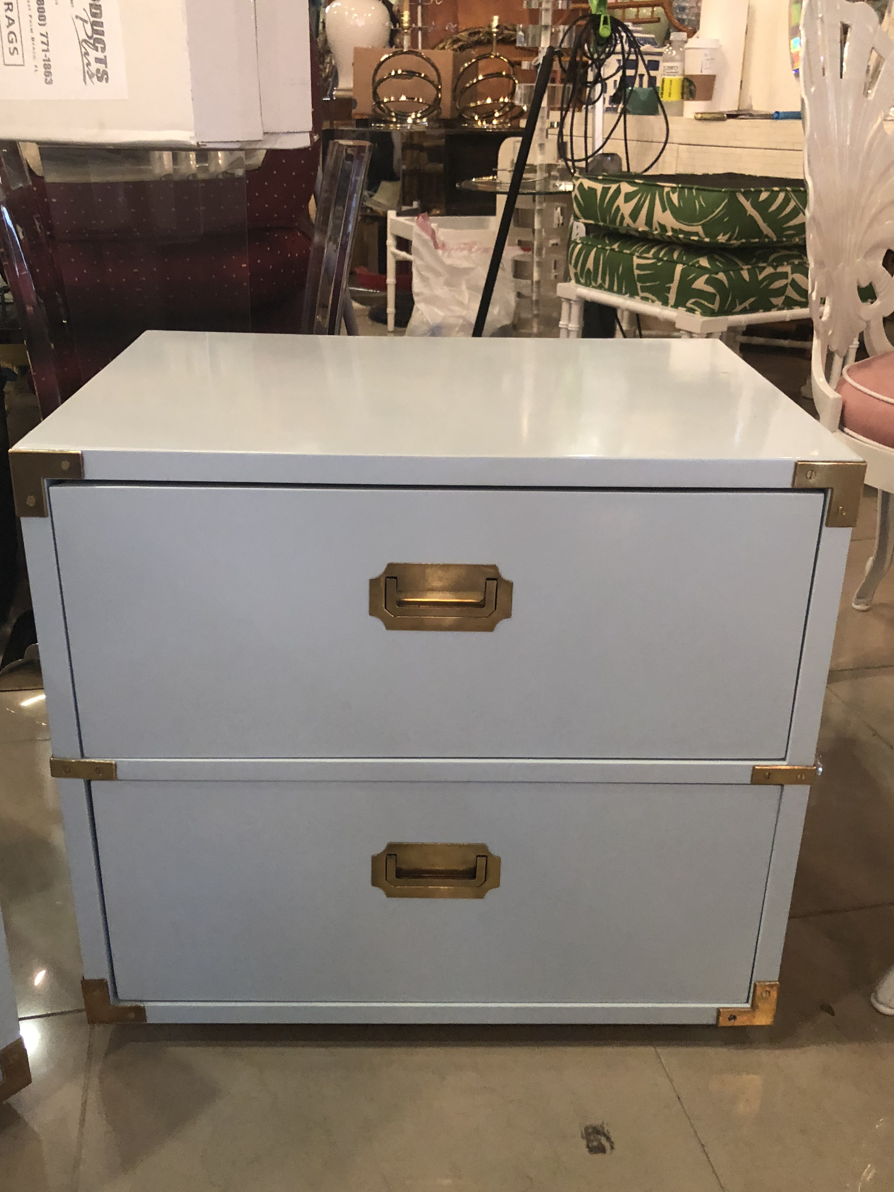 Laquered furniture Wood Vintage Lane Furniture Newly Lacquered Powder Blue Brass Campaigner Nightstands Chests a Pair For Sale Ebay Distinguished Vintage Lane Furniture Newly Lacquered Powder Blue