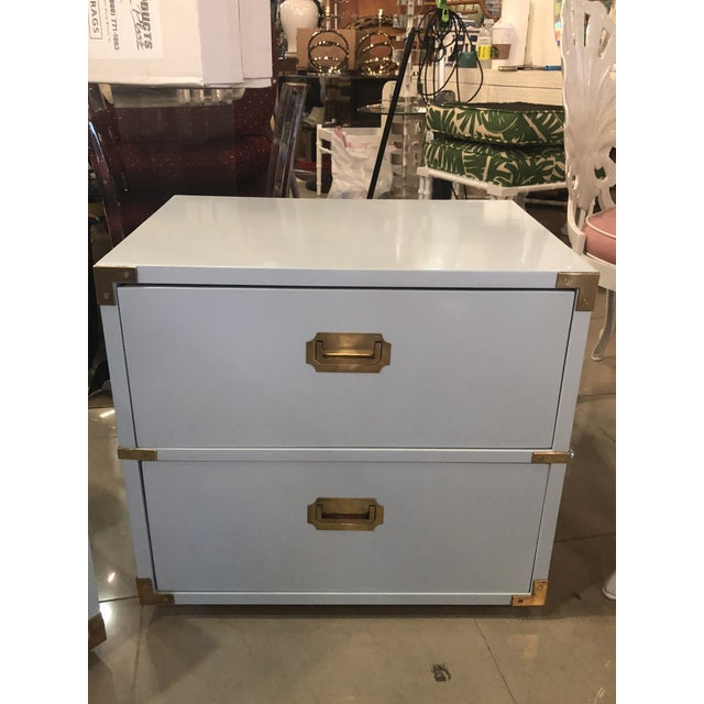 Vintage Lane Furniture Newly Lacquered Powder Blue Brass Campaigner Nightstands Chests -A Pair For Sale - Image 10 of 13