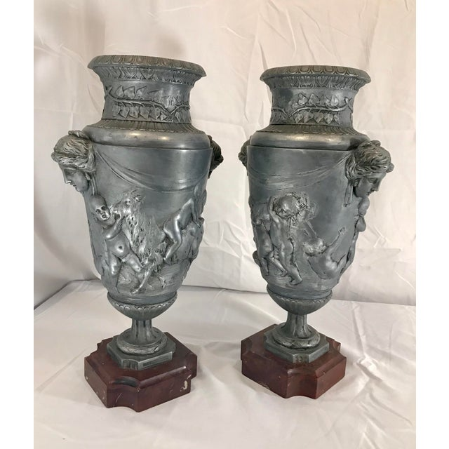 19th Century French Neoclassical Pewter on Marble Urns - a Pair For Sale - Image 4 of 13