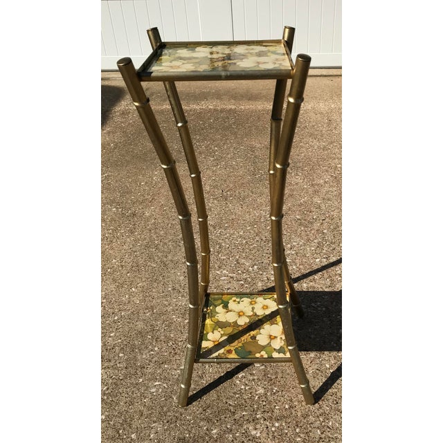 Vintage Faux Bamboo Side Table Plant Stand - Image 7 of 10