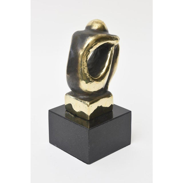 1980s Polished Figurative Brass and Granite Seated Sculpture/Desk Accessory For Sale - Image 5 of 11