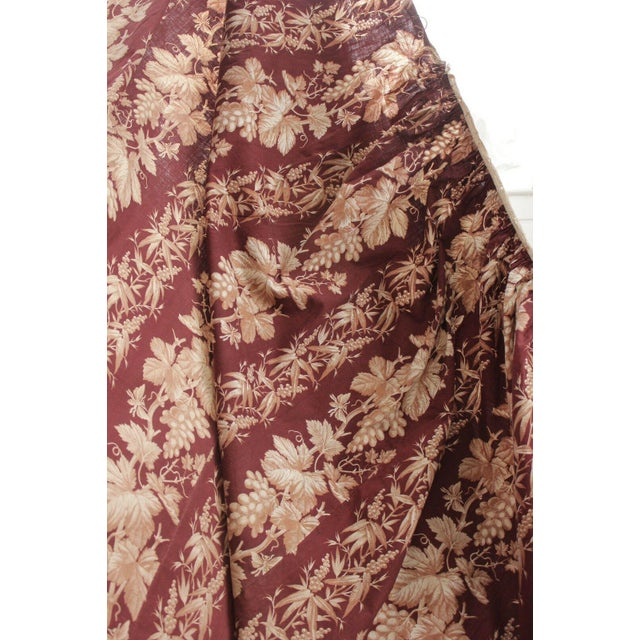 French Antique 1870s French Large Printed Cotton Madder Brown Passementerie Bed Curtain For Sale - Image 3 of 9