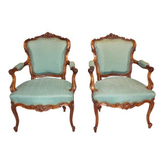 French Carved Fauteiul Chairs, a Pair For Sale