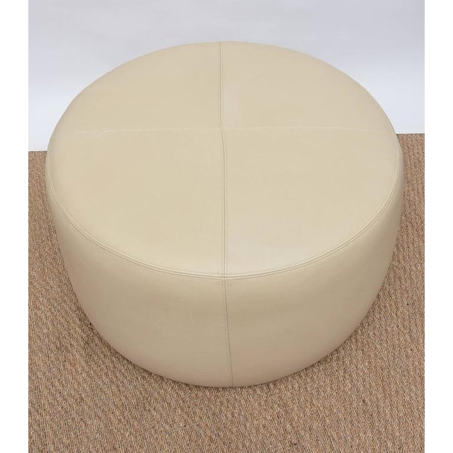Round Leather Ottoman For Sale In Miami - Image 6 of 9