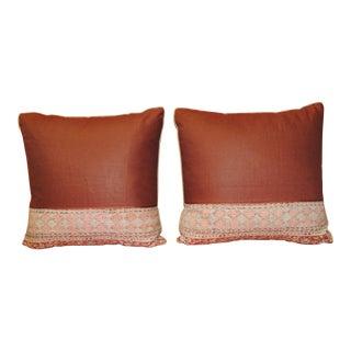 Pair of Vintage Kalamkari Indian Square Decorative Pillows For Sale