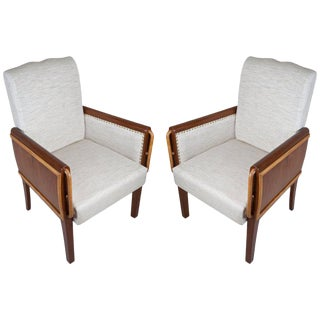 Mid-Century Modern Teak and Satinwood Armchairs - a Pair For Sale