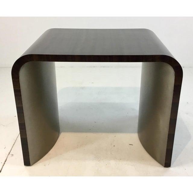 Stylish modern Caracole dark wood and silver finish streamline end table, showroom floor sample, original retail $825