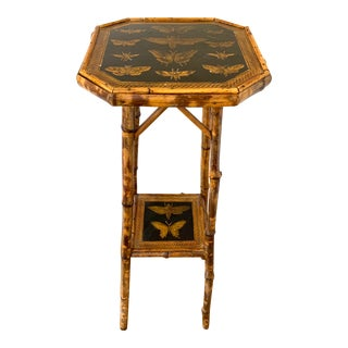Antique Decoupage Bamboo Plant Stand For Sale