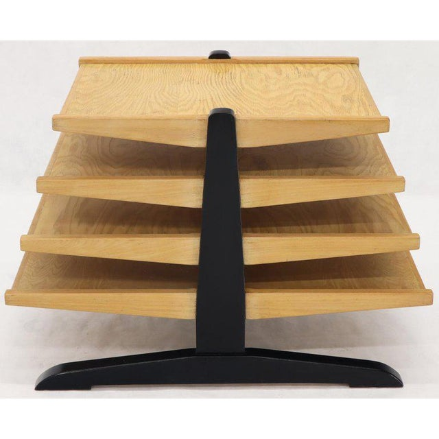 Mid-Century Modern Oak 4-Tier Magazine Rack Stand Shelf Storage For Sale - Image 10 of 10