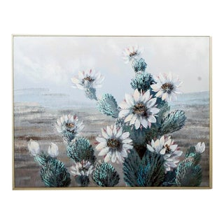 """Desert Flower"" Signed Pastel Toned Oil Painting by Lee Reynolds Studios for Windsor Art For Sale"