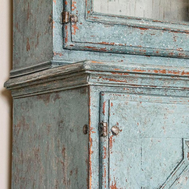 Antique Blue Painted Bookcase Display Cabinet From Sweden For Sale - Image 10 of 13