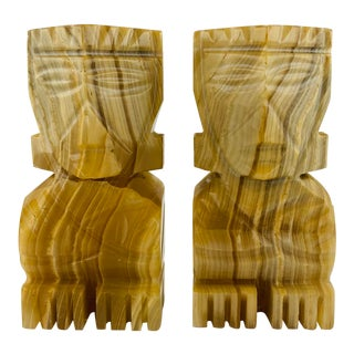 Onyx Totem Men Bookends - a Pair For Sale