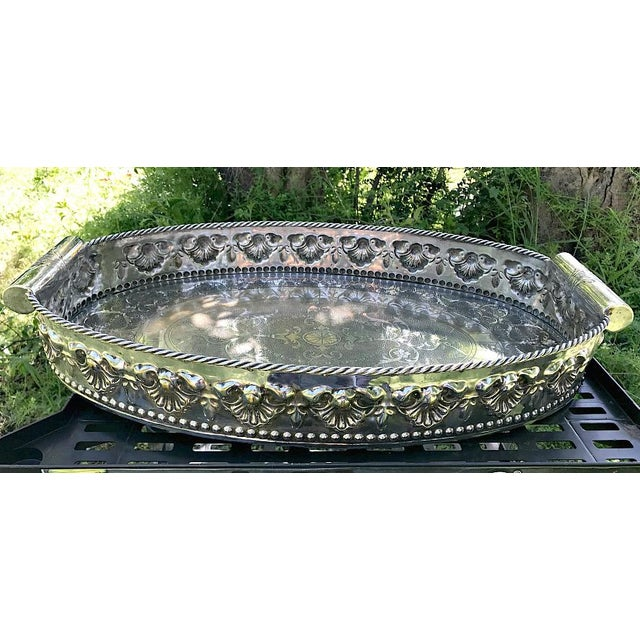Mediterranean Castilian Imports Silverplate Tray For Sale - Image 3 of 8