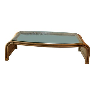 Ming Style Mid Century Glass Top Bamboo Coffee Table For Sale