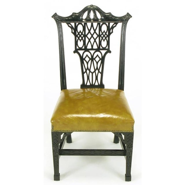 Eight Chinese Chippendale Ebonized Mahogany Dining Chairs with Leather Seats - Image 2 of 10