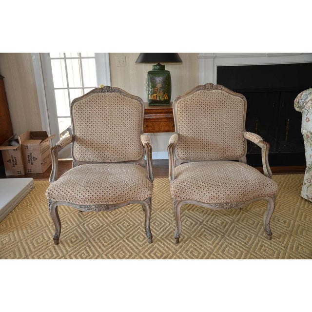 French Upholstered Bergere Chairs- A Pair - Image 2 of 10
