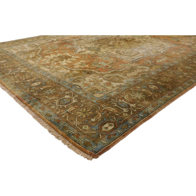 77309 Vintage Persian Heriz Rug with Warm Mid-Century Modern Rustic Style. This vintage Persian Heriz rug features a large...